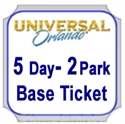Picture of Universal - 5 Days 2 Park BASE ticket,   1 park per day. Either Universal Studios Florida™ OR Universal's Islands of Adventure™. Good Prices and NO BLACKOUT DATES