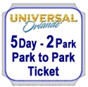 Picture of Universal -  5 Day - 2 Park Ticket with Park to Park Ticket - Visit both theme parks, Universal Studios Florida™ and Universal's Islands of Adventure™ on the same day. Adult 10+